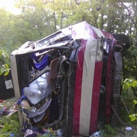 Автобус упал с обрыва