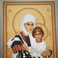 Божа Матір із сином у... борщівській вишиванці