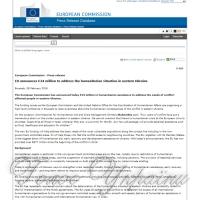 ЄК виділила 24 млн євро на потреби Донбасу