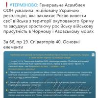 Генасамблея ООН ухвалила резолюцію про мілітаризацію Криму