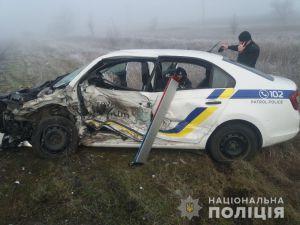 В Херсонской области машина полицейского протаранила патрульный автомобиль