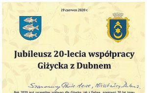 Города-побратимы Дубно и Гижицко празднуют юбилей своего сотрудничества