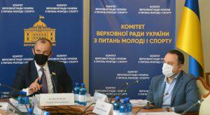 Андрій Кожем'якін та міністр молоді і спорту Вадим Гутцайт під час засідання комітету