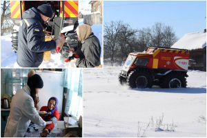 Чернігівщина: Їжу й медика доправили снігоболотоходом