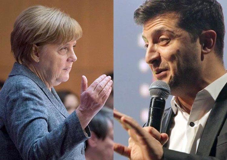Ситуация  на Донбассе – тема разговора Владимира Зеленского   с Ангелой Меркель