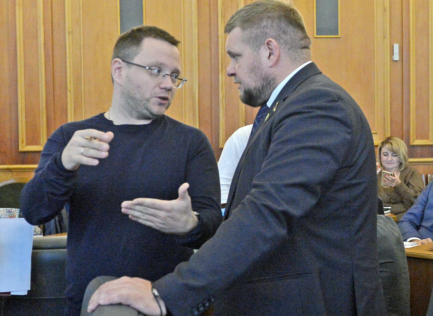 Андрій Клочко та Олег Дунда під час засідання