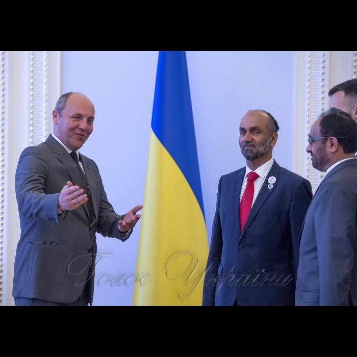 Зустріч Голови Верховної Ради України Андрія Парубія з членом Парламенту Об'єднаних Арабських Еміратів Ахмедом Аль-Джарваном та Надзвичайним і Повноважним Послом ОАЕ в Україні Салемом Ахмедом Аль-Каабі
