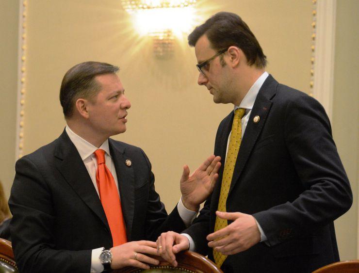 18 березня 2019 засідання погоджувальної ради у Верховній Раді України. Олег Ляшко (РП), Віктор Галасюк (РП).