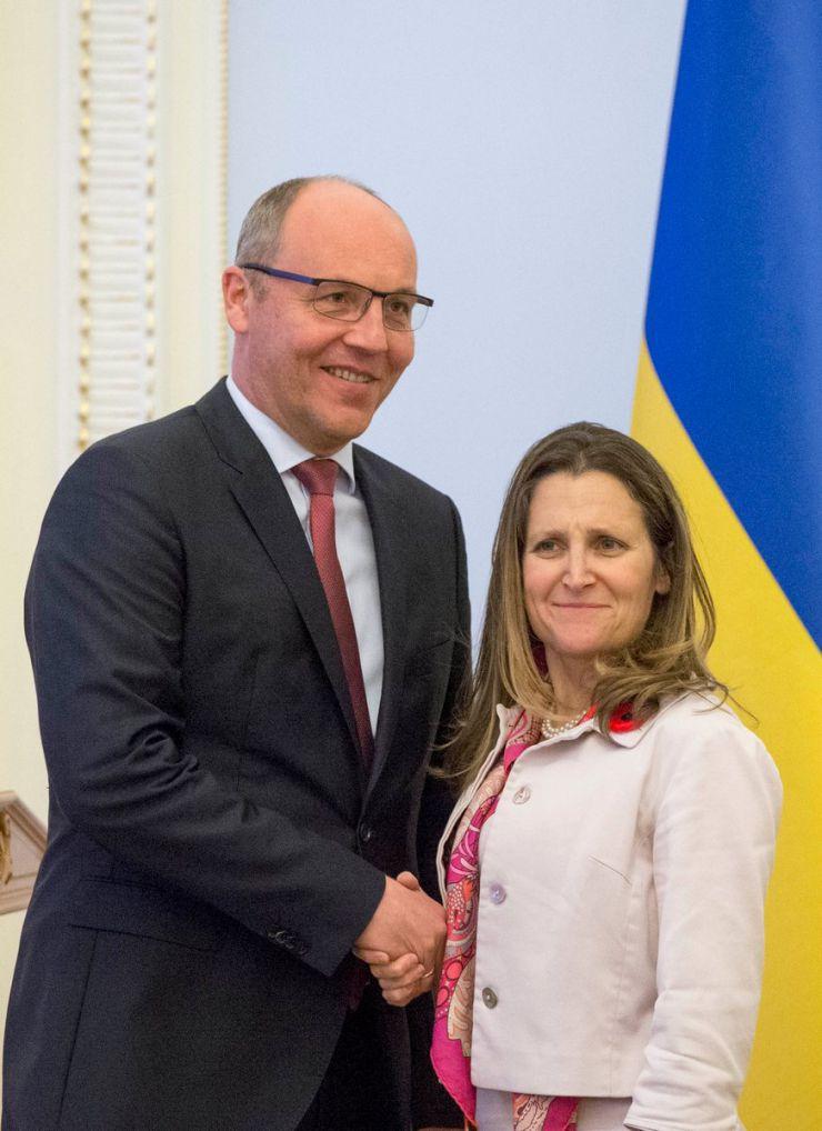 8 травня 2019 зустріч Голови Верховної Ради України Андрія Парубія з Міністром закордонних справ Канади Христею Фріланд.