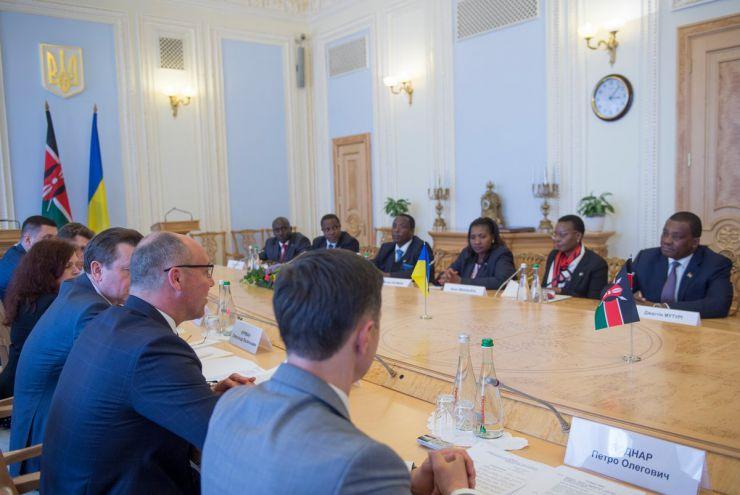13 травня 2019 зустріч Голови Верховної Ради України Андрія Парубія з Головою Національної Асамблеї Парламенту Республіки Кенія Джастіном Мутурі.