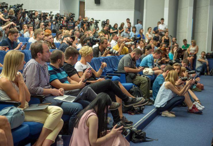 Прес-конференція Олега Сенцова та Олександра Кольченка в Києві.