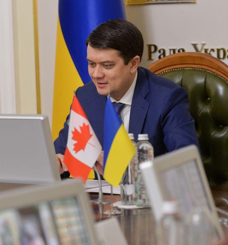 Онлайн-зустріч Голови Верховної Ради України Дмитра Разумкова  зі Спікером Палати громад Парламенту Канади Ентоні Ротою.