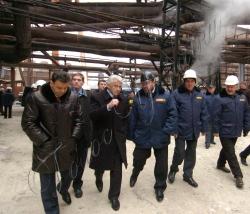 Голова Верховної Ради України Володимир Литвин під час поїздки у Запорізьку область відвідав комбінат «Запоріжсталь».