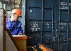 Урочисте відправлення першого рейсу нового повноскладового контейнерного поїзду за маршрутом ст. Київ-Ліски - ст. Чорноморська (ТІС).