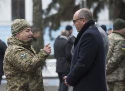 Вшанування пам'яті загиблих українських воїнів в Залі пам'яті на території Міністерства оборони України.