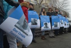 Акція під Посольством ЄС в Україні в рамках глобальної акції #SaveOlegSentsov з нагоди вручення Олегу Сенцову премії ім. Сахарова.