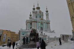 В Андріївській церкві Києва відбулась перша архієрейська літургія, яку очолюють екзархи Вселенського патріархату.