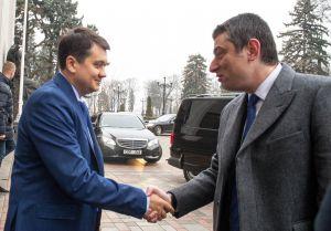 Голова Верховної Ради України Дмитро Разумков зустрівся з Прем'єр-міністром Грузії Георгіем Гахарія