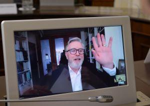 Встреча Председателя Верховной Рады Украины Дмитрия Разумкова с бывшим Президентом Европейского Парламента Петом Коксом в формате видеоконференции
