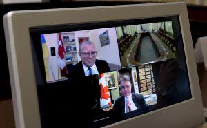 Онлайн-встреча Председателя Верховной Рады Украины Дмитрия Разумкова со Спикером Палаты общин Парламента Канады Энтони Ротой.